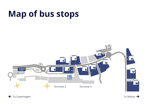airport bus stops map