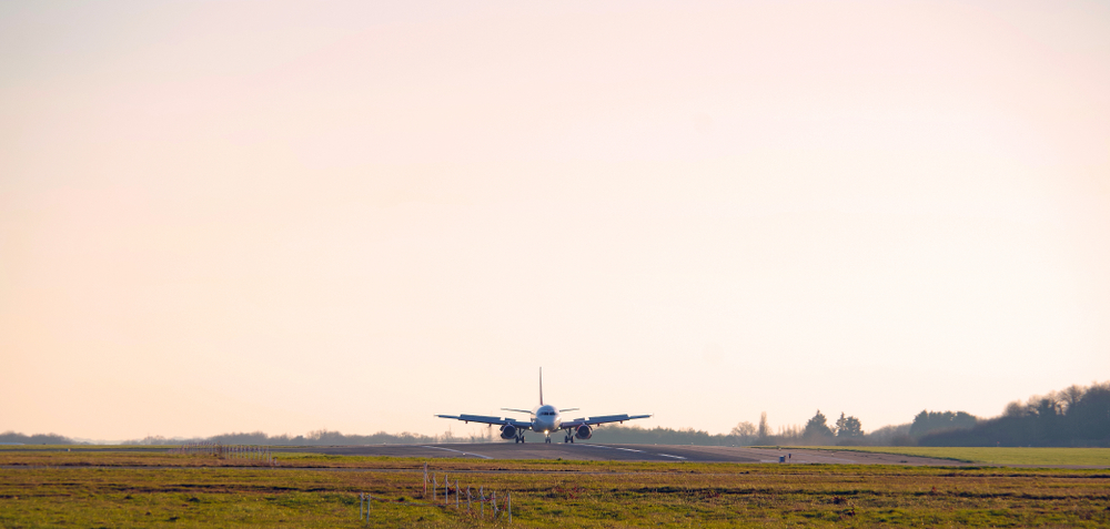 Airbus landing at Nantes Airport