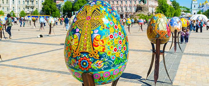 Oryginalne, malowane jaja w Kijowie