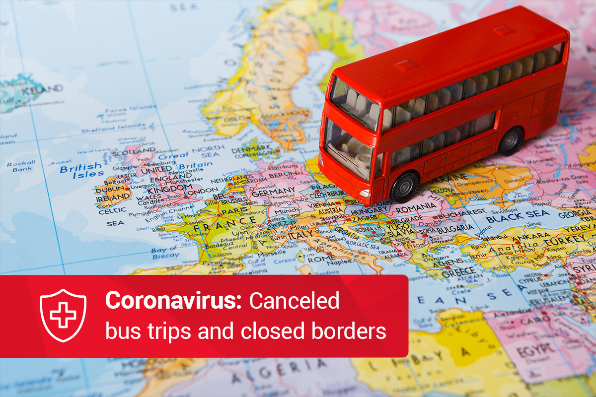 Coronavirus: suspended bus trips and closed borders