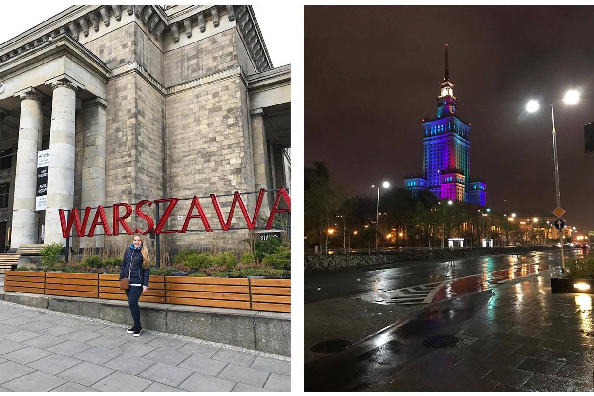 Большие буквы названия столицы Польши и подсветка Дворца культуры и науки